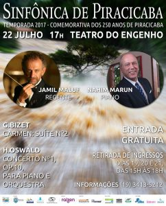 Sinfônica de Piracicaba recebe o pianista Nahim Marun