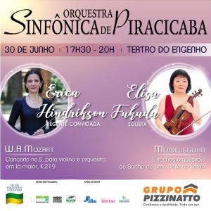 Sinfônica de Piracicaba se apresenta no dia 30 de Junho